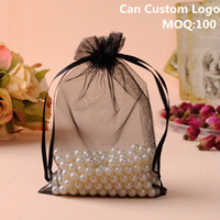 Wholesale logo gift bags small resale online - x16cm Black Organza Jewelry Bags Christmas Gift Bags Small Packaging Sacks Customized Logo Printing
