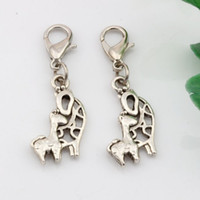 Wholesale 35mm Beads - Hot ! 100Pcs Antique Silver Alloy Giraffe Charms Charms Bead with Lobster clasp Fit Charm Bracelet 11 x 35mm DIY Jewelry