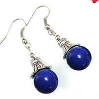 Wholesale Sterling Silver Lapis Jewelry - Wholesale cheap Fashion Lapis lazuli Bead Drop Dangle Tibet Silver Women Earring Jewelry