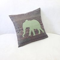 Wholesale Elephant Pillow Pattern Free - Wholesale-Free shipping high quality new linen pillow Bohemia cartoon elephant pattern pillow fabric pillow cover Wholesale Gifts