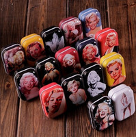 Wholesale Marilyn Monroe Accessories - Freeshipping Vintage Style Sexy Marilyn Monroe tin box  Collectables  mini iron case storage case pills storage box 32pcs lot