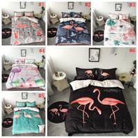 Wholesale sheet sets wholesale - Flamingo Bedding Sets Cartoon Pink Flamingo Bed Linings Duvet Cover Bed Sheet Pillowcases Cover Set 4pcs set OOA3805