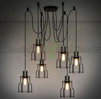 Wholesale Pendant Light Vintage Bulb Diy - 6 Heads 10 Heads Vintage Industrial Ajustable Huge DIY Ceiling Lamp Light Pendant Lighting Bulb LLWA036