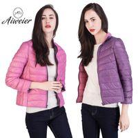 Wholesale Thin Down Coats For Women - [Aiweier]Ultra Light Down Womens Nylon Jackets Two Sides Wear 2017 Winter European Winter Down Coat For Ladies Parkas AL2104