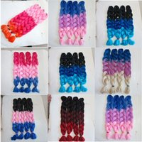 Wholesale ombre hair for braiding resale online - Kanekalon synthetic braiding Hair inch g Ombre Three tone color xpression Jumbo braid hair extensions colors for choose