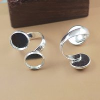 Wholesale pieces to fit mm ring settings silver plated double ring blank jewelry finding cy287