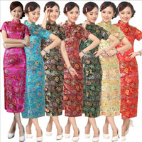 Wholesale Chinese Fashion Qipao - Fashion Gold Chinese Women's Satin Cheong-sam Long Qipao Dress Flower S M L XL XXL XXXL