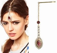 Gros-Bride Hair Pin Cuff Wrap strass rose Pendentif Crystal Drop Forehead Chaînes Bijoux Indian Head Bandeau
