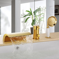 Wholesale Deck Mount Tub Faucets - Free ship Gold Pvd Color 3 Pieces widespread Waterfall Bathroom Bath Roman Tub Filler Faucet mixer tap deck mounted