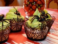Atacado- 25Pcs Black Spider Christmas New Year gift Paper Cake Cup Liners Bolo Cup Muffin Kitchen Cupcake Cases For Birthday Party