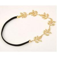 yeni zincir kafa bandı toptan satış-4 Stilleri Yeni lady altın Zeytin yaprağı bandı kafa parçası zincir altın elastik band kafa bandı Headbands Saç Aksesuarları bırakır