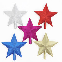 Wholesale Plastic Christmas Ornaments Decorate - 5 Color Christmas Tree Top Star Xmas Plastic Pentagram Decoration Party Decorate Ornament Santa Trees Accessories Five-pointed Stars Topper