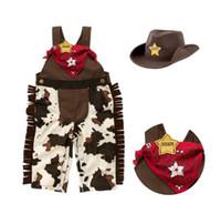 modell kleidung für jungen großhandel-Baby-Kleinkind-Kleidung-klassische Cowboy, die Hosenträger-Hose + Hut + Schal modelliert 3pcs Jungen-gesetzte Baby-Spielanzug-Klage C001