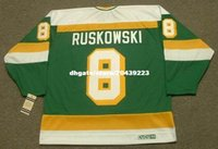 Commercio all'ingrosso personalizzato Throwback Mens TERRY RUSKOWSKI Minnesota North Stars 1987 CCM Vintage Cheap Retro Hockey Jersey