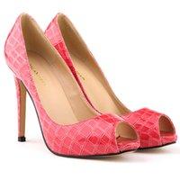 Wholesale Shoe Crocodile Sandals - New fish mouth high-heeled shoes fashion crocodile grain heel sandals banquet critical 806-3