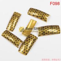 Wholesale Gold Nail Art Designs - 100pcs Gold color pattern design half cover french nail art tips acrylic half false nails art fake nail tips F098