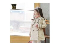Wholesale Girls Sweet Coat - Girls Wind Coats New Bontique Children Clothing Long Sleeved Buttons Trench Coat Sweet Girl Outwear Jackets 2 Color Kids Clothes Tops 9067