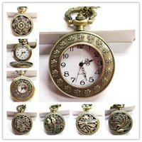Wholesale Wholesaler Pocket Watches - Vintage Bronze Pocket Watch Quartz Necklace Pendant Chain Wactches Clock Floral Antique Mine Hollow watches Mix style 100pcs Lot