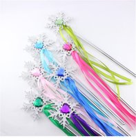 Wholesale Hot Sale Girls Toys Silver Snow Coloured Ribbon Frozen Magic Wand Princess Accessory Fashion Pretend Play Colors D0147