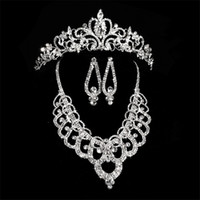 Wholesale indian tiaras - Bridal Diamond Crowns Accessories Tiaras Hair Necklace Earrings Accessories Wedding Jewelry Sets Cheap Price Fashion Style Bride