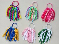 "Wholesale Curly Ponytails - Girl 5"" O A-korker Ponytail holders korkers Curly ribbons streamers corker hair bobbles bows flower elastic school boosters headwear PD002"
