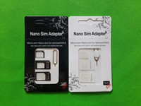 Wholesale Microsim Sim Nano - 25set lot(100pcs) 4 in 1 Nano to Micro to Standard Original SIM Card Adapter MicroSIM for iPhone 5 5s 4g 4s for Samsung HTC SONY