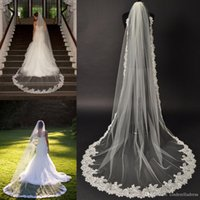 Wholesale Champagne Cathedral Length Veil - 2016 New Cathedral Veil Alencon Lace Bridal Veil Couture Chapel veils One layer Lace Edged Muslin Bridal Veils Bridal Accessories
