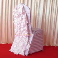Wholesale White Satin Banquet Chair Covers - White Ruffled Spandex Chair Cover With Satin Crush Flower In The Back 100PCS For Free Shipping