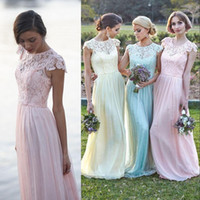 Wholesale Cheap Beautiful Long Sleeve Dress - Beautiful 2015 Prom Dresses Lace And Chiffon Crew Cap Sleeves Beach Bridesmaid Dress Long Plus Size Party Evening Gowns 2016 Cheap