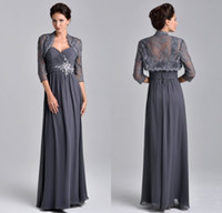 Wholesale Grey Floor Length Chiffon Dresses - 2017 Stunning Beaded Chiffon A Line Evening Dresses Floor Length With Lace Jacket Grey Mother Of The Bride Groom Dresses UM5508