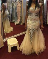 Wholesale nude pictures women resale online - 2016 Champagne Sequins Tulle Mermaid Prom Dresses Long Luxury Sheer Back Evening Gowns Arabric Women Evening Dresses Vestidos De Fiesta