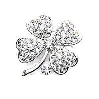 Wholesale Small Brooches Pearls - Free Shipping ! Top Qulity ! Gold Plated Mix Color Rhinestone Crystal Small Clover Leaf Flower Pin Brooch