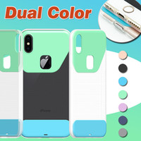 Dual Color Phone Case Soft TPU Hard PC Ultra fino e fino Transparente Crystal Clear Cover para iPhone X 8 7 Plus 6 6S Samsung S8 S7 Edge Note 8