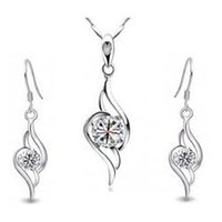 Wholesale Angle Wings Earring - 100% Silver 925 Angle Wings Jewelry Sets for Women FS008 Clear Free Shipping