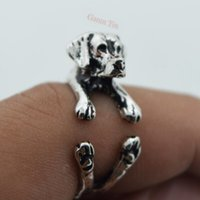 Wholesale Silver Wedding Ring Wrap - Antique Silver And Black Labrador Wrap Ring Labrador Retriever Charm Black Ring 5pcs lot Wholesale Free Shipping