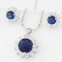 Wholesale Pink Korean Earring - Jewelry Sets For Women A+++ Cubic Zirconia Wedding Accessories Korean Necklace Earring Sets Wedding Jewelry Sets For Brides