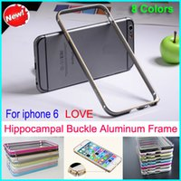 Wholesale Iphone Bumpers Pack - 8 colors Hippocampal buckle Ultrathin Metal Bumper Case Frame Protector Cover No Screw for iphone 6 with retail packing