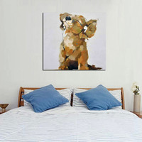 Wholesale Music Paintings Canvas - Hand Painted Home Decor Painting The Dog listen To Music Oil Painting On Canvas As A Good Gift To Decorated The house