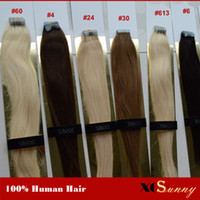 "Wholesale Tape Wavy Extensions Human Hair - XCSUNNY Tape In Hair Extensions Remy Wavy 18""20"" Human Hair Extensions Tape 100g 100% Indian Virgin Human Hair Tape In Extension"