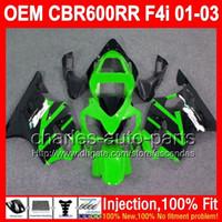 Wholesale Honda Cbr F4i Lights Fairings - OEM Green black For HONDA CBR600 F4i FS 600F4i 01 02 03 CBR 600 F4i L72352 Injection CBR600F4i 01-03 2001 2002 2003 Fairings Light green