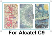 Wholesale Branded Pop Phone - For Alcatel One Touch Pop C9 Mobile Phone Wallet Flip Leather Case Cover Colorfull Painted OT7040D 7047 7047D