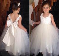 Wholesale Lovely Junior Girl - 2015 Lovely Flower Girls Dresses With V Neck Two Straps Appliques Tulle Floor Length White Junior Bridesmaid Dress Backless Pageant Dresses