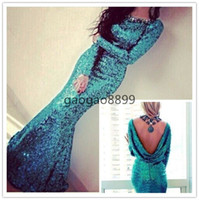 Wholesale Peacock Beaded Dress - Peacock Turquoise Sparkly Sequins Sexy Long Sleeve Evening Dresses with Cowl Back Custom Make Crew Full length Mermaid Prom Dresses