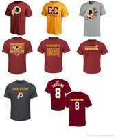 Wholesale Redskins Red - Men's Washington Redskin 8 Kirk Cousins red black gold name and number Logo Personalized T-Shirt