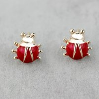 Wholesale Korean Jewellery Wholesalers - 1cm red ladybug stud earrings set cheap price fashion jewelry for girls women korean style jewellery