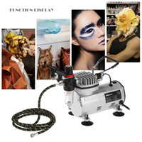Freeshiping 3 Airbrush Kit mit Luftkompressor Dual-Action Aerografo Hobby Spray Luftbürste Set Tattoo Nail Art Lackversorgung w / Reinigungsbürste