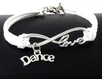 Wholesale charm bracelets dance - 10pcs Vintage Silver Love Infinity Dance Charms Bracelets Bangle For Women Mixed Color Velvet Rope Bracelet Jewelry Gifts Accessories