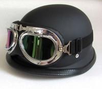 Wholesale Dot Motorcycle Half Helmets - 2016 German Style DOT Approved Half face Motorcycle Helmet military helmet Chopper Cruiser Carbon fiber Matt Black with glass