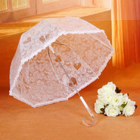 Wholesale Black Plastic Umbrella - rose heart-shaped print lacework plastic transparent automatic long arched umbrella