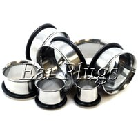 Wholesale Wholesale Stainless Steel Tunnels - Wholesale 48pcs 4-16mm 8 sizes stainless steel single flared ear plug gauges flesh tunnel body piercing jewelry SSP0001
